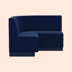 navy blue, hand-stitched dining booth