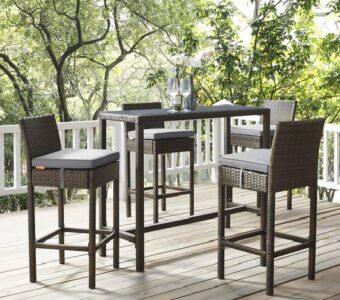 rattan woven & metallic outdoor restaurant table & chair set