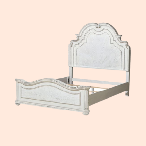 carved victorian twin size bedframe in distressed finish