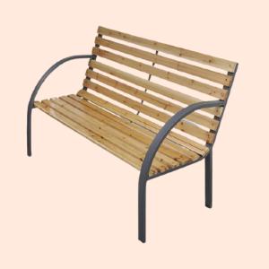 wood and metal garden bench