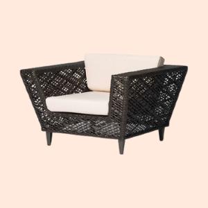 rattan woven hotel armchair for hospitality use