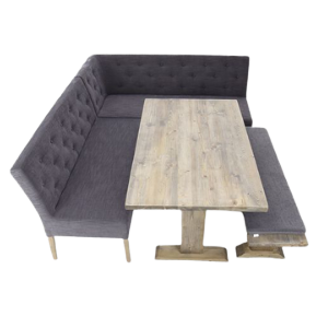 rustic restaurant bench and table